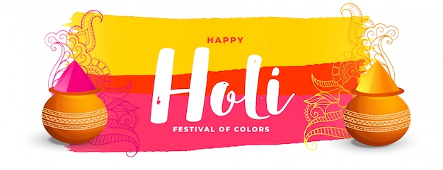 Colorful happy holi indian festival banner