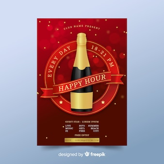 Colorful happy hour poster concept