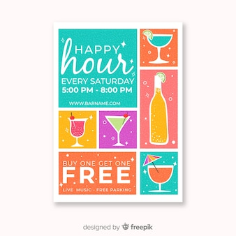 Colorful happy hour poster with cocktails