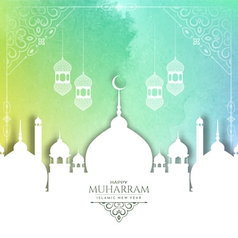 Colorful happy muharram background with white mosque
