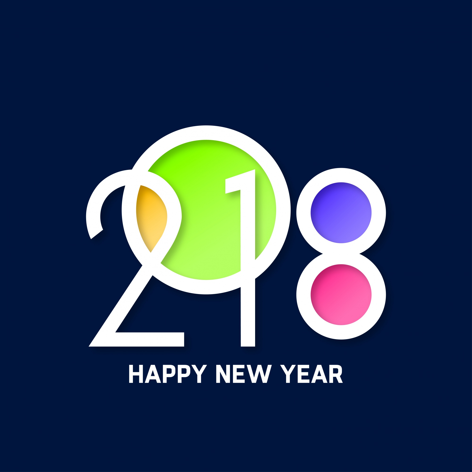 Colorful happy new year 2018 text design