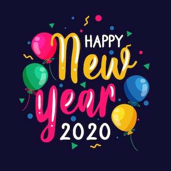 Colorful happy new year 2020  lettering