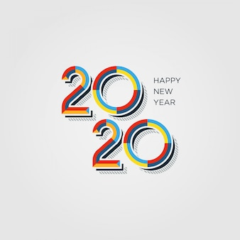 Colorful happy new year 2020 typography