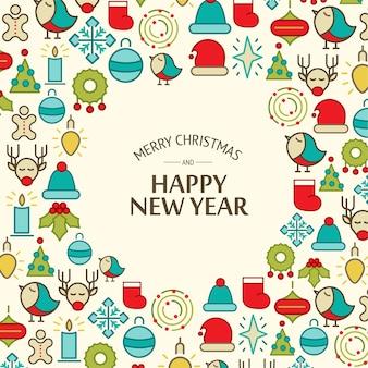 다채로운 새 해 복과 메리 크리스마스 카드