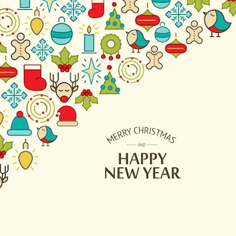 Colorful happy new year and merry christmas card