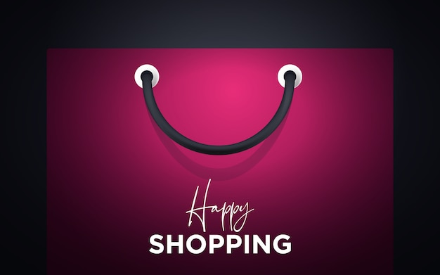 Colorful happy paper shopping bag with handle background