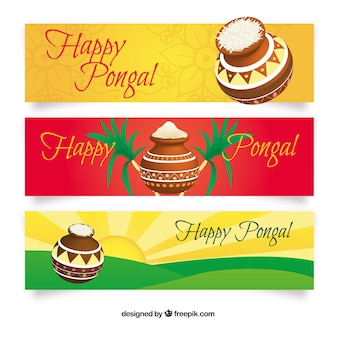 Colorful happy Pongal banners