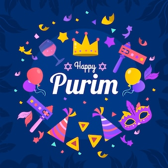 Colorful happy purim day banner