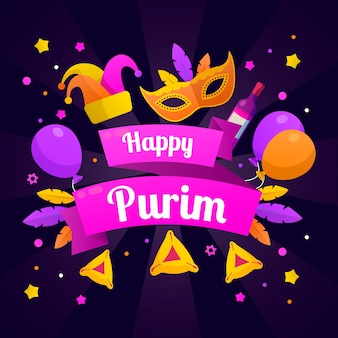 Colorful happy purim day