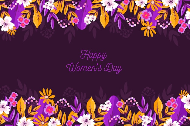 Colorful happy women's day with flowers
