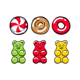 Colorful hard candies and gummy bears set