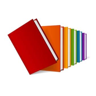 カラフルなハードカバーの本のスタック。空の。図 Premiumベクター
