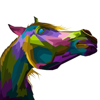 カラフルな頭の馬のポップアートの肖像画プレミアム