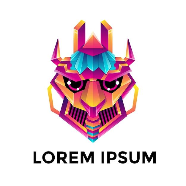 Шаблон логотипа красочные головы робота