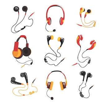 Набор красочных наушников и наушников, аксессуары для музыкальных технологий, иллюстрации на белом фоне