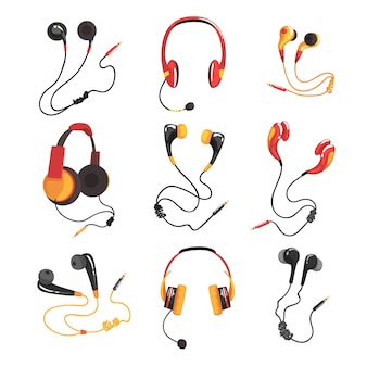 Colorful headphones and earphones set, music technology accessory  illustrations on a white background