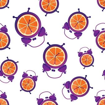 オレンジと目覚まし時計でカラフルな健康的で楽しいシームレスパターン