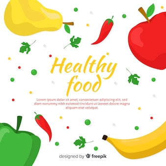 Colorful healthy food background template