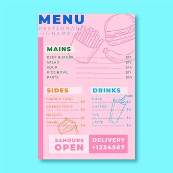 Modello di menu ristorante cibo sano colorato