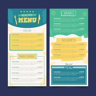 Colorful healthy food restaurant menu template
