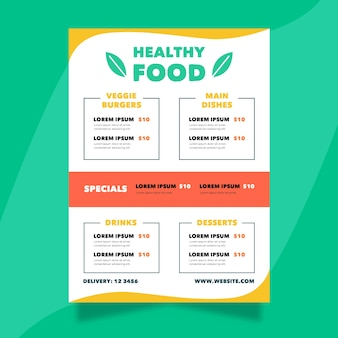 Шаблон меню ресторана красочные здоровой пищи