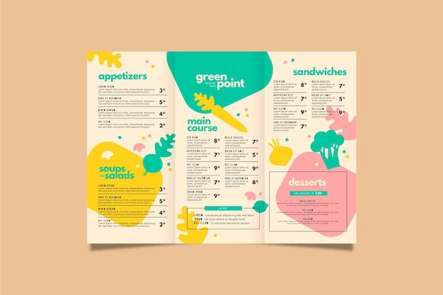 Colorful healthy food restaurant menu template