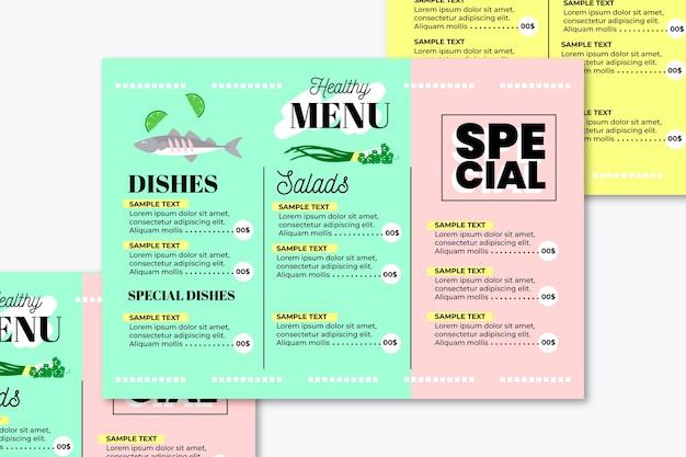 Красочное меню ресторана здоровой пищи
