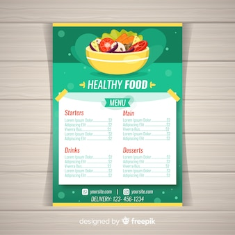 Colorful healthy menu template