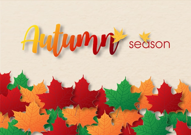 Colorful and heap of maple leaves with wording of season