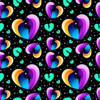 Colorful heart broken seamless pattern design vector