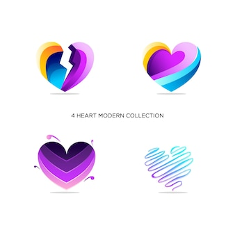 Colorful heart collection logo abstract design