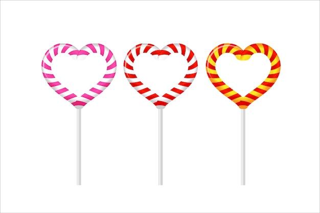 分離された白のカラフルなハートロリポップ。バレンタインデー、結婚式、誕生日、パーティーに。白い背景に設定します。