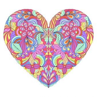 Разноцветное сердце на белом фоне