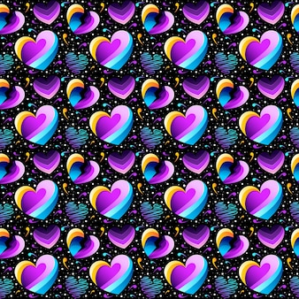 Colorful heart seamless pattern design vector