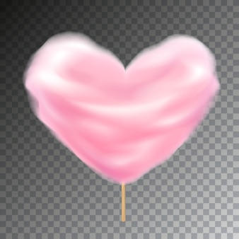 Красочная вата в форме сердца на палочке. сладкая пушистая иллюстрация закуски с прозрачностью.