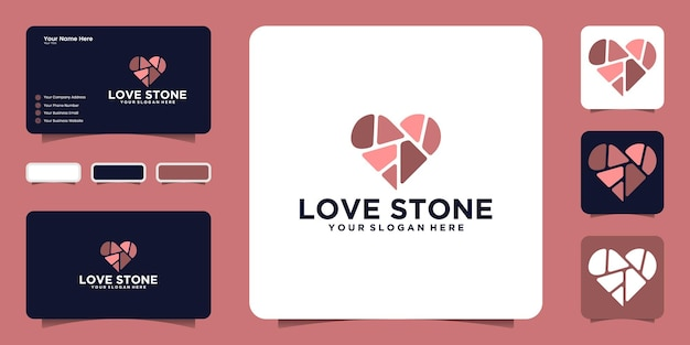 Colorful heart stone logo design inspiration and business card inspiration