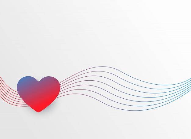 波線のカラフルな心バレンタインの日の背景