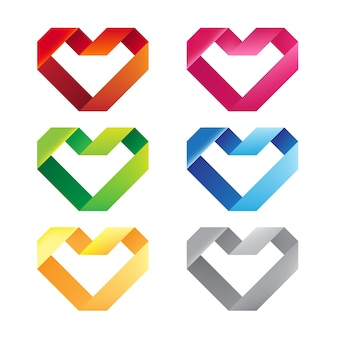 Colorful Hearts Ribbon in Isolated Background.