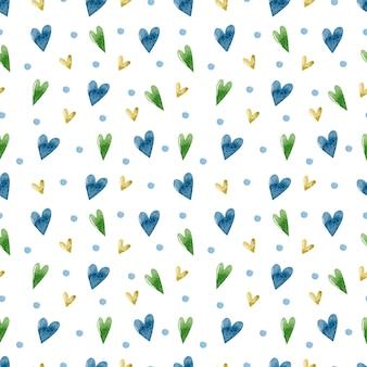화려한 하트 수채화 원활한 패턴