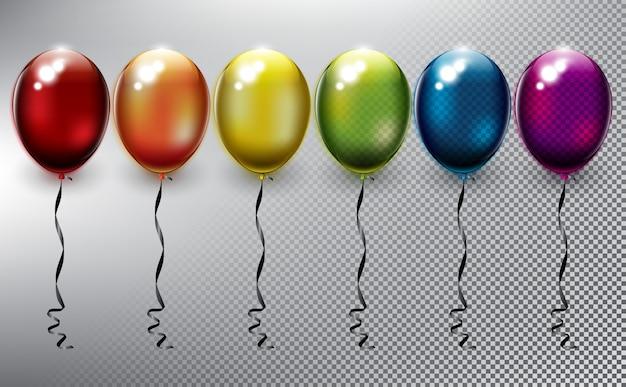 Коллекция красочных гелиевых шаров. надувные воздушные воздушные шары. изолированные на белой поверхности.