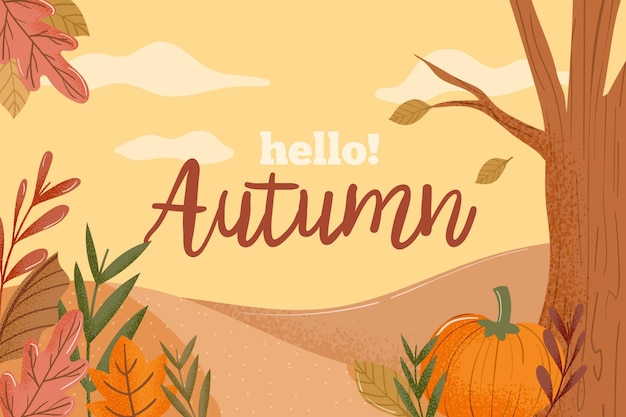 Colorful hello autumn background