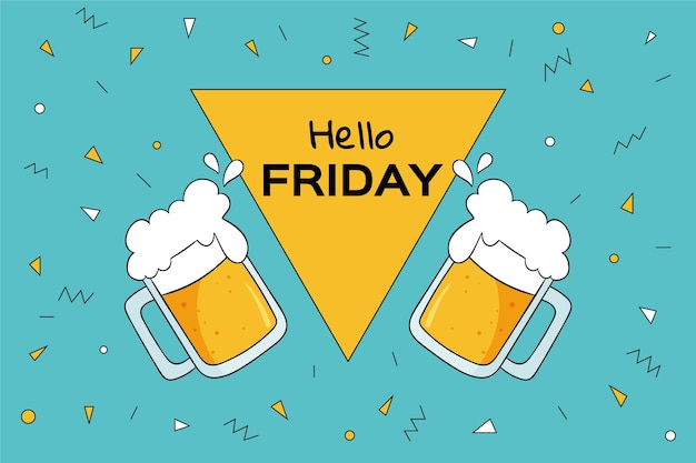 Colorful hello friday background with beers Free Vector