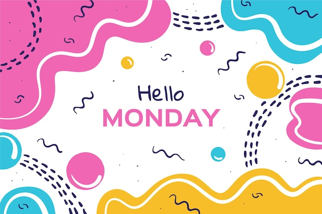 Colorful hello monday lettering