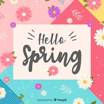 Colorful hello spring background