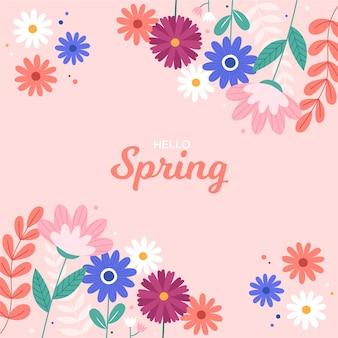 Colorful hello spring concept