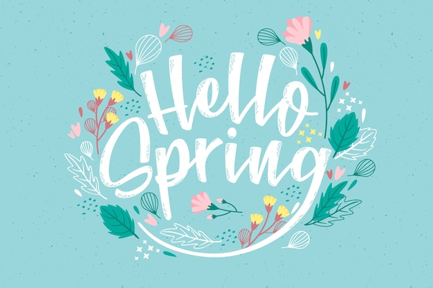 Colorful hello spring design