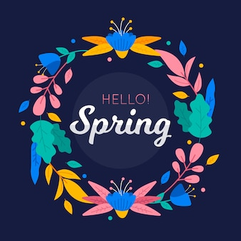 Colorful hello spring floral frame