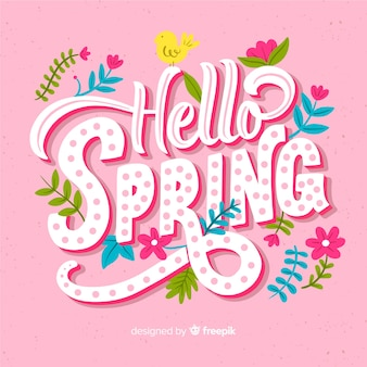 Colorful hello spring lettering background