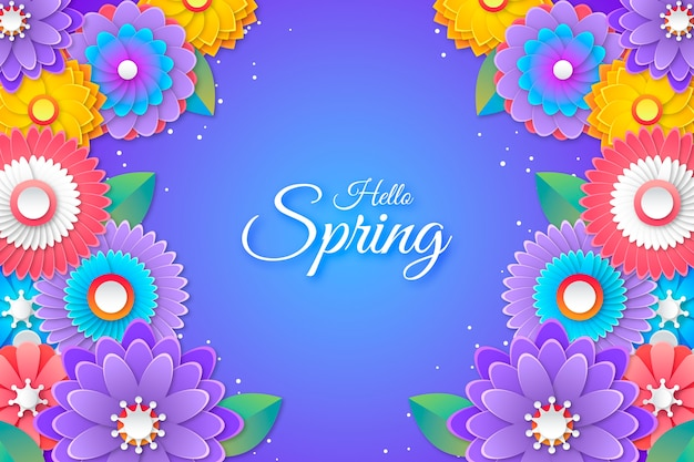 Colorful hello spring lettering in paper style background