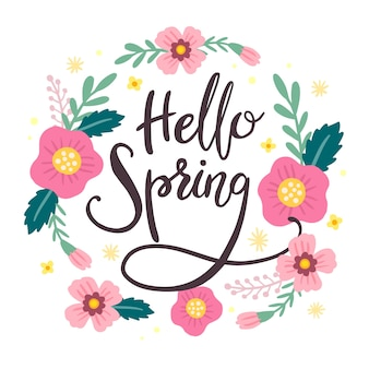 Colorful hello spring lettering with decoration